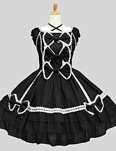 billiga Lolitaklänningar-Klassisk/Traditionell Lolita Rokoko Dam Tonåring Flickor Klänningar Cosplay Svart Kortärmad Knälång