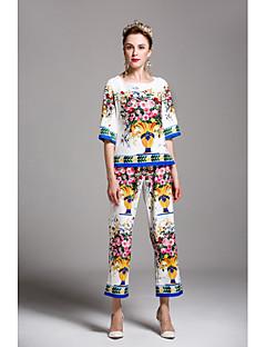 お買い得  レディースツーピースセット-女性用 シャツ - プリント, 多色 ハイウエスト パンツ