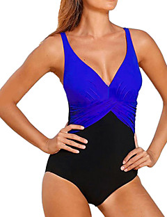 cheap -Women's Color Block Cross Halter One-piece Swimwear Yellow Fuchsia Red Blue Royal Blue