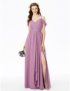 cheap Long Bridesmaid Dresses-Sheath / Column Spaghetti Straps Floor Length Chiffon Bridesmaid Dress with Split Front by LAN TING BRIDE®