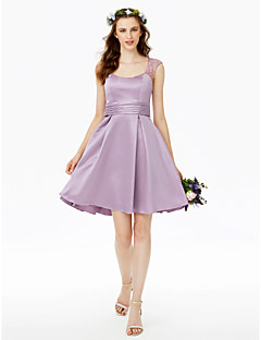 cheap Purple Passion-Princess Straps Short / Mini Lace Satin Bridesmaid Dress with Buttons Lace Sash / Ribbon Pleats Ruching by LAN TING BRIDE®