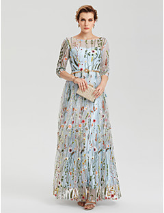 billiga Aftonklänningar-A-linje Illusion Halsband Golvlång Spets Formell kväll Klänning med Broderad / Bälte / band av TS Couture®