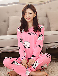 Women's Suits Pajamas,Animal Cotton Polyester Blue Blushing Pink Yellow