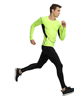 billige Løbetøj-Herre T-shirt og bukser til løb og jogging Sport Yoga, Træning & Fitness, Løb Hurtigtørrende Grøn og Sort, Sort / Grøn Ensfarvet, Sport