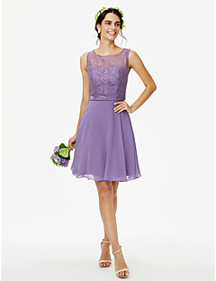 cheap Short Bridesmaid Dresses-A-Line Jewel Neck Knee Length Chiffon Lace Bridesmaid Dress with Lace Sash / Ribbon by LAN TING BRIDE®