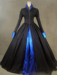 Victorian Rococo Female One Piece Dress Black Cosplay Other Satin Long Sleeves Cap Floor Length
