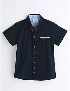 お買い得  男児 トップス-男の子 ソリッド コットン シャツ 夏 半袖 ブルー