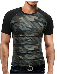 Men's Sports Plus Size Casual/Daily Simple Summer T-shirt,Color Block Camouflage Round Neck Short Sleeves Cotton Polyester Medium