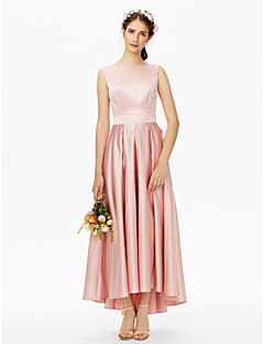 cheap Romance Blush-A-Line Bateau Neck Asymmetrical Satin Bridesmaid Dress with Sash / Ribbon Pleats by LAN TING BRIDE®