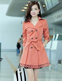 Damen Solide Einfach Lässig/Alltäglich Trench Coat,Steigendes Revers Herbst Lange Ärmel Lang Baumwolle Spitze