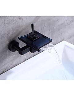 tanie Wodospad-Współczesny Umieszczona centralnie Wodospad Zawór ceramiczny Pojedynczy Uchwyt Dwa Otwory Olej przetarł brązu, Bateria Wannowa