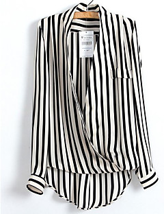 Women's Casual/Daily Work Simple Punk & Gothic Street chic Shirt,Striped Deep V Long Sleeves Polyester