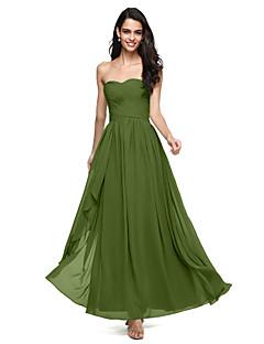 billige Grønn glamour-A-linje Kjære Gulvlang Chiffon Brudepikekjole med Kryssdrapering / Bølgemønster av LAN TING BRIDE® / Åpen rygg