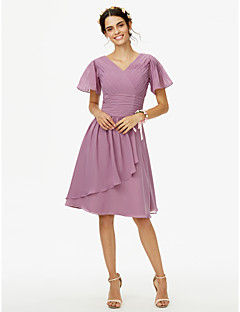 cheap Purple Passion-A-Line V Neck Knee Length Chiffon Bridesmaid Dress with Sash / Ribbon Ruched Criss Cross by LAN TING BRIDE®