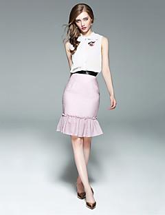Kadın Mikro-elastik Kolsuz Dik Yaka Yaz Çizgili Günlük Çiçekli-Kadın kısa ve kolsuz bluz Etek Suit