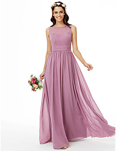 cheap Purple Passion-A-Line Jewel Neck Floor Length Chiffon Bridesmaid Dress with Sash / Ribbon Pleats Ruched by LAN TING BRIDE®