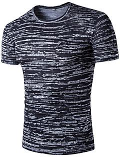 Bomull Rayon Tynn Kortermet,Skjortekrage T-skjorte Stripet Galakse Sommer Enkel Aktiv Ut på byen Fritid/hverdag Herre