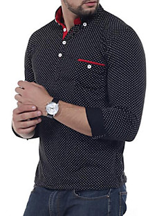 Men's Casual Chinoiserie Spring Fall Polo,Round Dots Shirt Collar Long Sleeve Polyester Cotton Blend