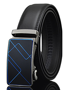 Men's Casual Business Black Genuine Leather Alloy Automatic Buckle Waist Belt Work/Casual/Party All Seasons