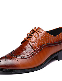 cheap -Men's Formal Shoes Leather Spring / Fall British Oxfords Walking Shoes Black / Brown / Red / Wedding / Party & Evening / Split Joint / Party & Evening / Fashion Boots