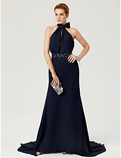 cheap Wedding Guest Dresses-Sheath / Column High Neck Court Train Chiffon Formal Evening Dress with Beading Bow(s) Sash / Ribbon Pleats by TS Couture®