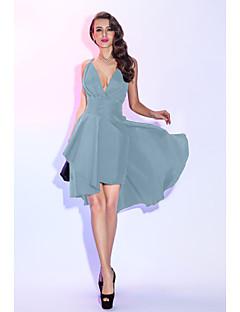 billiga Cocktailklänningar-A-linje Dunkel halsringning Asymmetrisk Taft Cocktailfest / Bal Klänning med Veckad / Plisserat av TS Couture® / Den lilla svarta