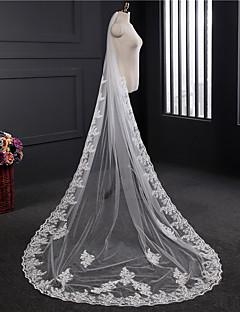cheap Wedding Veils-One-tier Lace Applique Edge Wedding Veil Chapel Veils 53 Appliques Embroidery Lace Tulle