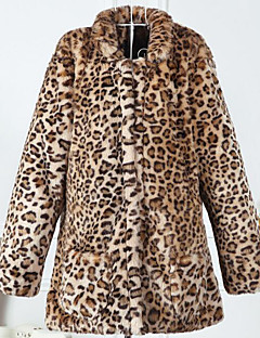 Women's Daily Simple Casual Winter Fall Fur Coat,Leopard Stand Long Sleeve Long Others