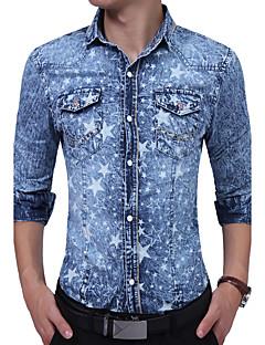Bomull Rayon Tynn Langermet,Skjortekrage Skjorte Trykt mønster Fargeblokk Alle sesonger Vintage Enkel Fritid/hverdag Arbeid Herre