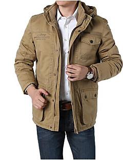 メンズ カジュアル/普段着 秋 冬 ジャケット,シンプル フード付き ソリッド レギュラー コットン その他 長袖