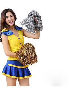Cheerleader Costumes Outfits Women's Performance Polyester Trims 2 Pieces Sleeveless High Skirts Tops