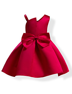Girl's Solid Dress,Cotton Polyester Summer Sleeveless Bow Blue Red