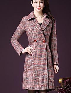 Damen Druck Einfach Lässig/Alltäglich Mantel,Hemdkragen Winter Lange Ärmel Lang Acryl Polyester Andere