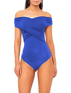 baratos Blusas Femininas-Mulheres Bandagem Para Noite Feriado Moda de Rua Macacão - Frente Única, Sólido Moderno Decote Canoa