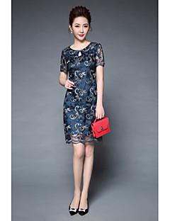 olcso YBKCP-Női Kínai Vékony Hüvely Ruha - Művészeti stílus, Hímzett