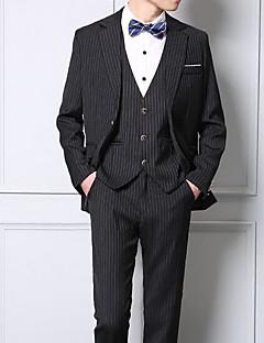メンズ ワーク 春 秋 スーツ,シンプル ピークドラペル ソリッド ストライプ ショート コットン その他 長袖