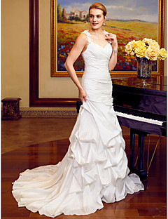 cheap Plus Size Wedding Dresses-Sheath / Column Straps Court Train Taffeta Wedding Dress with Appliques Flower(s) Pick Up Skirt Criss Cross Side-Draped by LAN TING BRIDE®