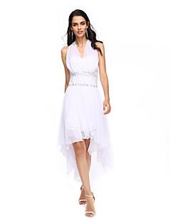 billiga Cocktailklänningar-A-linje Halterneck Asymmetrisk Chiffong Cocktailfest / Bal / Helgdag Klänning med Bård Veckad av TS Couture®