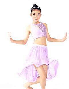 Tanzsport Kleidung Austattungen Damen Kinder Vorstellung Elastan Polyester Pailletten Überkreuzt Drapiert 3 Stück Ärmellos NormalTop Rock