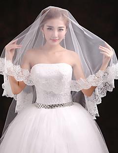 cheap Wedding Veils-One-tier Lace Applique Edge Wedding Veil Cathedral Veils 53 Appliques Tulle