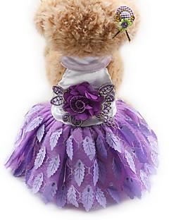 billiga Hundkläder-Katt Hund Smoking Klänningar Hundkläder Prinsessa Svart Purpur Röd Chiffong Siden Terylen Kostym För husdjur Dam Fest Ledigt/vardag