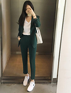 Women's Work Simple Spring Shirt Pant Suits,Solid Peter Pan Collar Long Sleeve