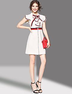 hesapli OYCP-Kadın Dışarı Çıkma Sevimli Kılıf Elbise Kırk Yama,Kısa Kollu Gömlek Yaka Diz üstü Polyester Yaz Normal Bel Mikro-Esnek Orta