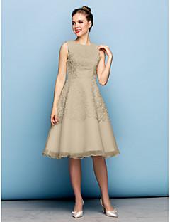 billiga Brudnäbbsklänningar-A-linje Prydd med juveler Knälång Spets Organza Cocktailfest / Bal Klänning med Spets av TS Couture®