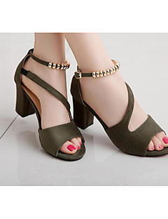 cheap -Women's Shoes Leatherette Summer Basic Pump Heels Open Toe Beading for Gray / Green / Pink
