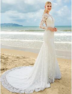 billiga Trumpet-/sjöjungfrubrudklänningar-Trumpet / sjöjungfru Dunkel halsringning Svepsläp Heltäckande spets Bröllopsklänningar tillverkade med Spets / Veckad av LAN TING BRIDE®