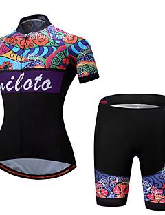 Miloto Jerseu Cycling cu Pantaloni Scurți pentru Doamne Feminin Manșon scurt Bicicletă Set de Îmbrăcăminte Ciclism Spandex Poliester