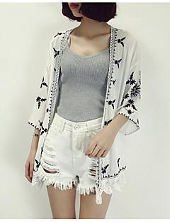 cheap Women's Tops-Women's Polyester Coat Print V Neck