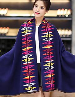 baratos Cachecol Feminino-Mulheres Lã, Retângular - Estampado / Inverno / Todas as Estações