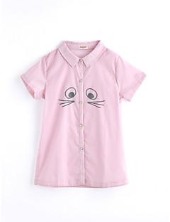 billige Pigetoppe-Pige T-shirt Helfarve, Bomuld Sommer Kortærmet Lyserød